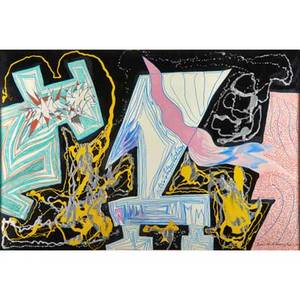 Bruce a anderson american b 1945 abstract mixed media on paper 1986 framed signed and dated 40 x 60 sheet
