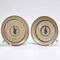 Otto and vivika heino two stoneware plates decorated with leaves ojai ca mid20th c one signed larger 7 14 dia