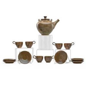Edwin and mary scheier assembled tea set teapot six cups and saucers usa saucers and teapot signed teapot 6 34 x 8