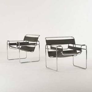 Marcel breuer pair of wassily lounge chairs 20th c chromed steel stitched leather unmarked 29 12 x 31 x 27 12