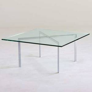 After ludwig mies van der rohe barcelona style coffee table 1980s chromed steel glass unmarked 18 x 39 12 x 39 12