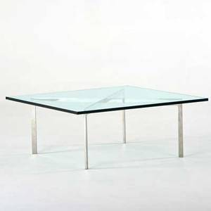 After ludwig mies van der rohe barcelona style coffee table chromed steel glass unmarked 16 x 40 sq