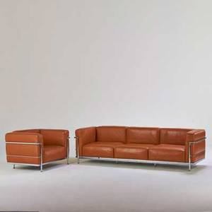 Le corbusier sofa and lounge chair 1990s chromed steel leather unmarked sofa 26 x 92 x 29 chair 26 x 39 x 29