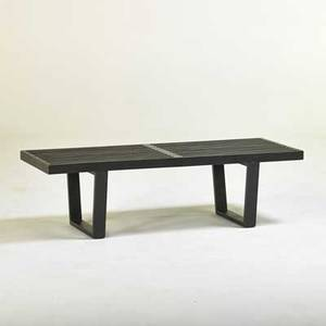 George nelson herman miller slatted bench zealand mi 1950s ebonized wood unmarked 14 x 48 x 18 12