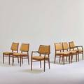 Peter hvidt  orla molgaardnielsen france  dave six dining chairs two arm and four side denmark 1960s stained and lacquered beech wool unmarked 33 x 25 x 22