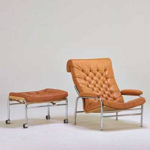 Fritz hansen lounge chair and ottoman denmark 1970s chromed steel leather canvas unmarked chair 34 x 31 x 38 ottoman 17 x 26 x 19