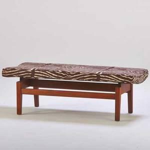 Jens risom jens risom design inc bench usa 1960s canvas walnut unmarked 17 x 21 x 48