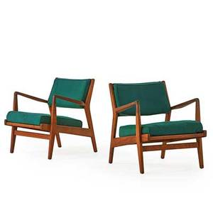 Jens risom design pair of lounge chairs with arms usa 1960s walnut upholstery remnants of manufacturer labels 30 x 27 x 33