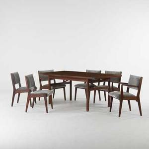 Jens risom design dining table and six chairs two arm four sides usa 1960s walnut mohair unmarked dining table 30 x 72 x 42 two leaves 18 armchair 31 x 23 12 x 22 side chair