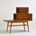 Pedersen and hansen two teak hanging boxes together with expandable coffee table denmark 1960s larger hanging box 12 x 35 12 x 8 12coffee table 23 x 51 x 23 12 closed open 43 12