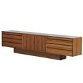 Cado rosewood low console constructed from three wall hanging cabinets mounted to a base denmark 1960s unmarked 22 12 x 94 12 x 15