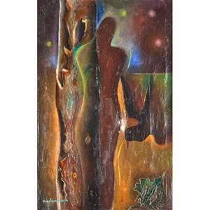 Edmond vandercammen belgium 19011980 oil on canvas la femme et loiseau ca 1925 framed 28 78 x 20 18