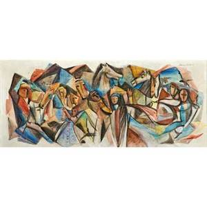 Marianna von allesch american 20th c mixed media on masonite of crowd with horses signed together with watercolor and ink on paper of king on horse among people signed both framed larger 1