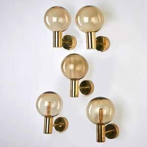 Hans agne jakobssen markaryd set of five polished brass sconces sweden 1960s unmarked each 9 x 5 x 6