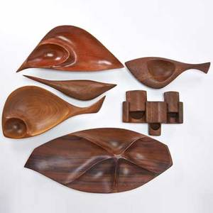 Emil milan etc five carved vessels and one secret box usa 1960s walnut bubinga brazilian rosewood all marked largest 2 x 23 12 x 10 14