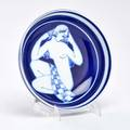 Fk jellberg arabia studio blue bowl with female figure finland 1928 glazed earthenware signed and dated 8 12 dia