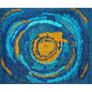 Style of rya wool area rug decorated with concentric ovals in shades of blue and gold denmark ca 1970s unmarked 80 x 55