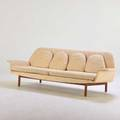Danish fourseat sofa 1970s teak upholstery unmarked 31 x 102 x 32