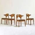 Danish four side chairs 1980s sculpted teak upholstery unmarked 32 x 23 x 20