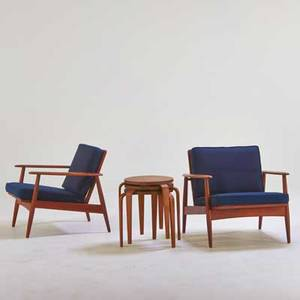 Danish pair of lounge chairs and set of three nesting tables 1960s teak beech upholstery unmarked chair 27 12 x 30 x 32 table 17 x 18 dia