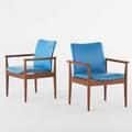 Finn juhl france and sons pair of diplomat armchairs denmark 1960s teak and vinyl both with metal tags each 31 x 27 x 25