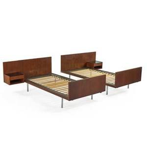 Hans wegner getama two twin bed frames with builtin nighstands denmark 1960s teak mattechromed steel black glass branded overall 29 12 x 56 x 81 12 ea inside 78 12 x 39 12