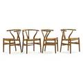 Hans wegner carl hansen set of four wishbone chairs denmark 1960s oak woven paper cord unmarked 28 12 x 21 14 x 20