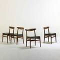 Hans wegner andreas tuck four side chairs denmark 1960s stained oak leather branded 30 x 22 x 18