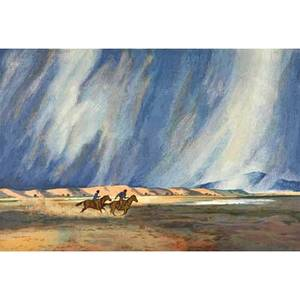 Peter hurd american 19041984 screenprint in colors running before the storm framed signed and numbered ap 27 14 x 44 12 sight