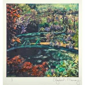 Elizabeth murray american 20th c manipulated polaroid wisteria covered footbridge giverny france 1994 framed signed titled and dated 15 x 11 18 sheet