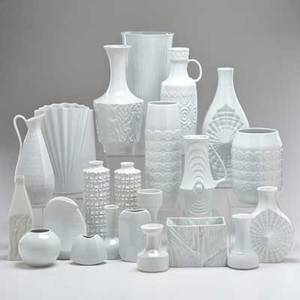 German porcelain twentytwo pieces of blanc de chine porcelain including three hutschenreuther vases two gerold vases edelstein pitcher and vase etc bavaria and thuringia mid 20th c all but