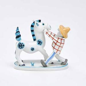 Metzler and ortloff farmer with horse germany earlymid 20th c porcelain marked with makers mark 4938 5 12 x 5 x 2 34