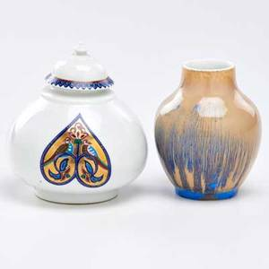 Early royal copenhagen lidded jar with birds and small vase denmark late 19thearly 20th c porcelain both marked tallest 5 14
