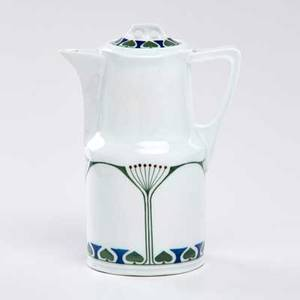 Paul dresler tall covered pitcher with stylized decoration german ca 1910 porcelain marked 9 12 x 4 x 6 34