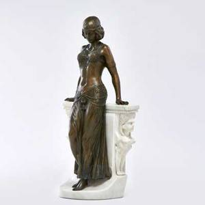 Egyptian revival bronze statue of a lady with marble sphinx support ca 1920 unmarked 19 34 x 9 12 x 5 12