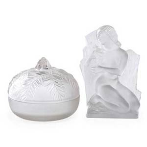 Lalique lidded circular box sculpture of a woman france earlymid20th c glass both with inscribed markings tallest 8 x 5 x 3