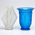 Etling etc diamondshaped in opalescent glass marked etling68france together with flared rim vase 20th c etling 10 14