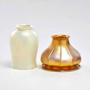 Quezal two glass shades one tulip form verredesoie and one iridescent gold early 20th c both marked taller 5