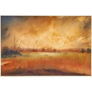 Michael h lewis american b 1941 oil wash on paper winter light 1993 signed and dated together with oil on board of covered bridge signed kaz 2005 both framed larger 8 14 x 12 14