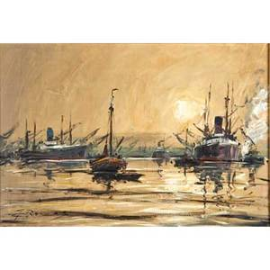 Gerhard cohn roemers german 1900  1965 oil on canvas painting of ships framed signed 19 12 x 27 12