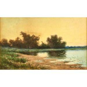 Milne ramsey american 18471915 watercolor on paper of lake 1905 signed and dated together with silver gelatin print of shoreline illegibly signed 1994 both framed larger 16 x 19 34 sh
