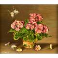 Sondra lipton american 20th c two oil on board paintings pink primroses and lily of valley framed signed larger 6 x 7