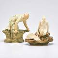 Weller two muskota figures kneeling woman and flower frog with nude and swan zanesville oh 1915 both marked larger 7 12