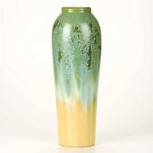 Fulper tall ovoid vase flemington nj ca 19161922 glazed earthenware with cucumber crystalline glaze incised diestamped mark 16 14 x 5 14 dia