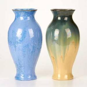 Fulper two baluster vases flemington nj ca 19161928 glazed earthenware both marked taller 13 12