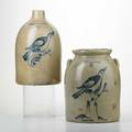 Fulper two stoneware vessels with bird motifs flemington nj early20th c bluedecorated saltglazed earthenware both marked taller 13 12