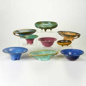 Fulper nine bowls flemington nj 1910s1920s four footed three twohandled and two flared glazed earthenware one in crystalline and one in mustard mat glaze most marked largest 12 dia