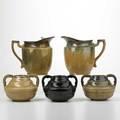 Fulper two pitchers three twohandled vases flemington nj 1920s two racetrack marks three horizontal diestamped marks tallest 7 12