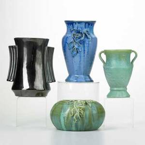 Fulper three vases and bowl two with applied floral decoration flemington nj ca 19221928 glazed earthenware racetrack marks tallest 8 34