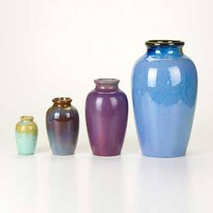 Fulper four graduated baluster vases flemington nj 1920s including chinese blue crystalline wistaria glazes glazed earthenware most marked tallest 12